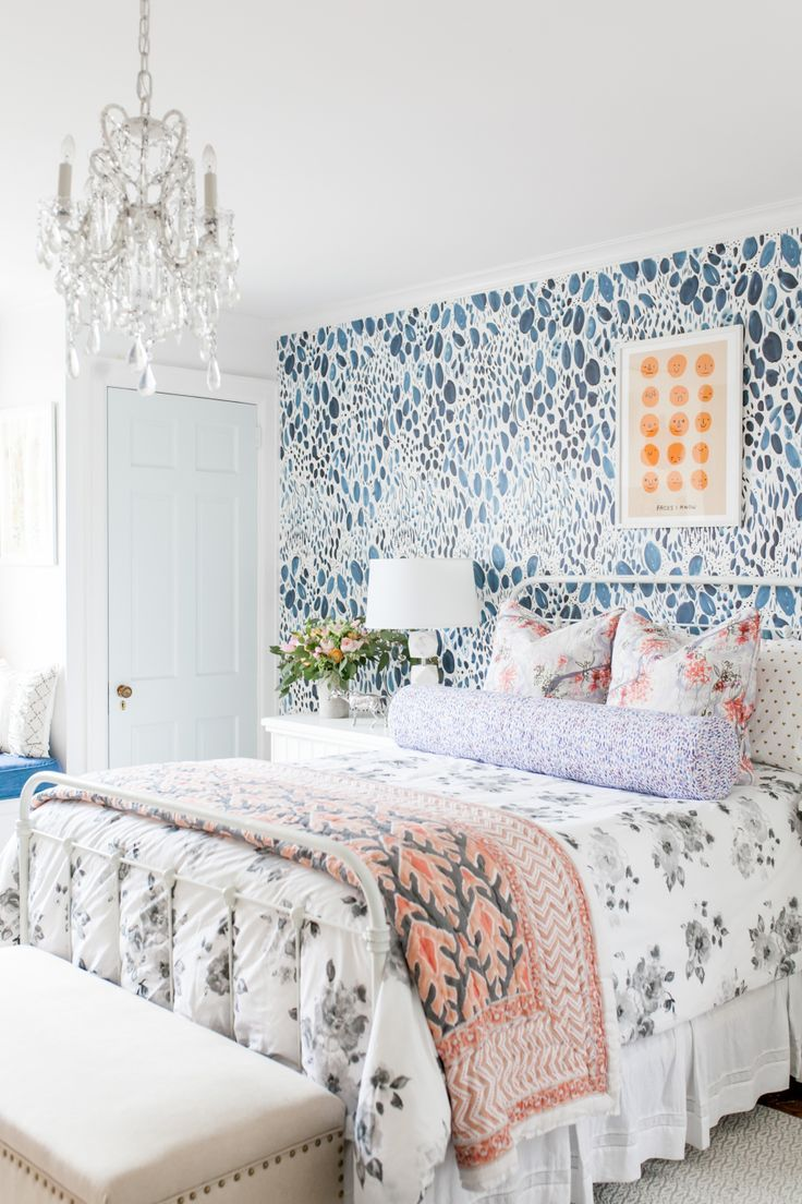 bedroom decor ideas graphic blue and white wall paper as a focal wall pretty. Interior Design Ideas. Home Design Ideas