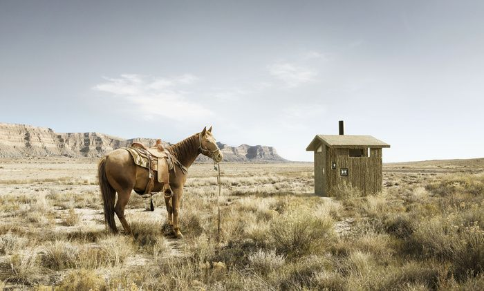"""When a Cowboy's Gotta Go"" by David Stinson -  #fstoppers #Conceptual #Humor #Horse #Desert #americanwest"