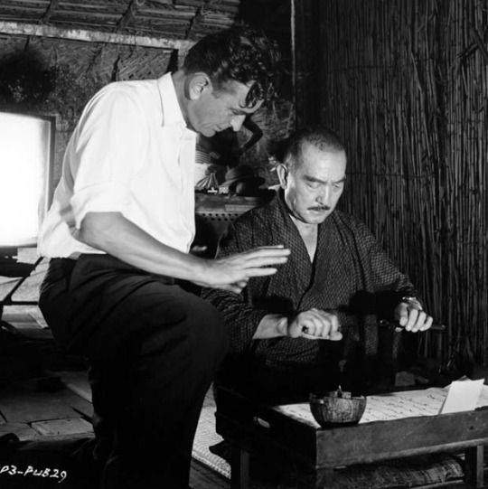 David Lean with Sessue Hayakawa on the set of The Bridge on the River Kwai (1957)