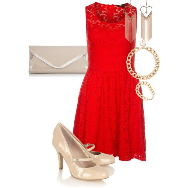 """""""Red dress worn with nude court heels and a nude clutch"""" by amooshadow on Polyvore"""