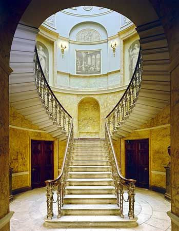 An interior view of the main staircase of Home House. Built between 1773 and 1776 for Elizabeth, Countess of Home. It is, perhaps, Robert Adam's finest surviving town house.