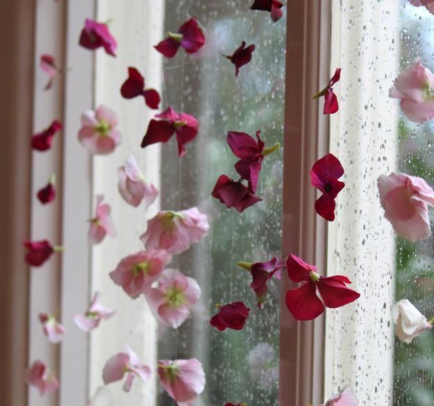 Unique Window Decor | Flower curtain, creative window decorating idea for summer