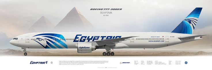 Boeing 777-300ER Egyptair SU-GDO | Highly Detailed Profile Prints | www.aviaposter.com | #airliners #aviation #jetliner #airplane #pilot #aviationlovers #avgeek #jet #sideplane #airport #egyptair #b777 #boeing