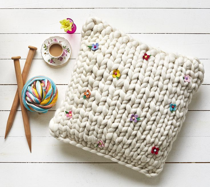 """Giant Knitting is all the rage - this is the Floor Cushion project from my latest book """"Easy Stuff to Make with Fluff"""" - it uses giant knitting needles and wooltops giant yarn. There is a whole chapter about Extreme / Giant Knitting and Extreme / Giant Crochet too - with quite a few different projects you can make."""