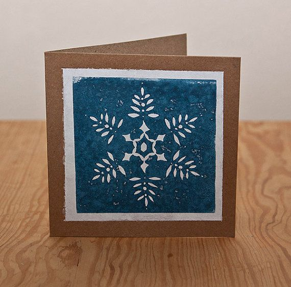 Snowflake linocut christmas card by Zombie pomegranate