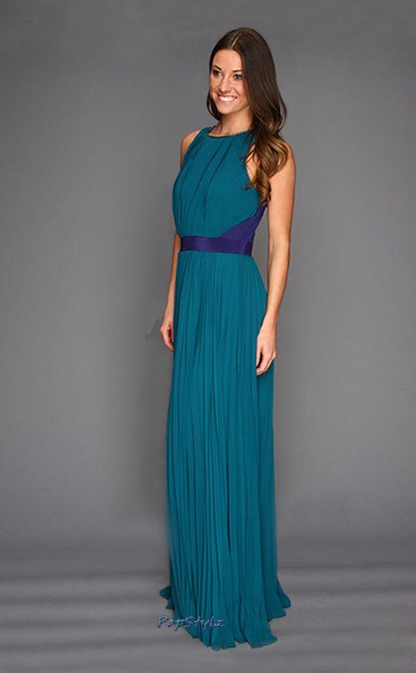 Halston Heritage Atlantic/Astral Blue Chiffon Gown