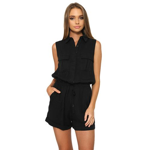 Gamiss women summer casual playsuits Black Beige Army green S~XL Pocket jumpsuits sleeveless feminine roompers Soft Silk Satin