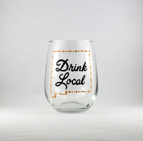 Drink Local Custom State Outline Pub by TheTattooedButterfly