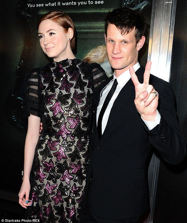 Red carpet support: The 26-year-old actress, who shot to fame playing Matt Smith's faithful time-travel companion Amy Pond in Doctor who, was a million miles away from the BBC family show as she attended the Hollywood premiere of her new movie with Matt at her side