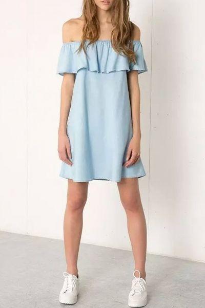 Light Blue Off-Shoulder Denim Dress possible bridesmaid? Casual and pretty