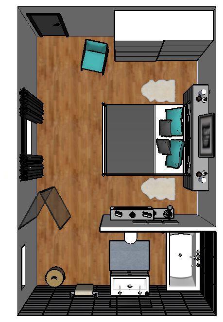 3D tekening IKEA slaapkamer badkamer
