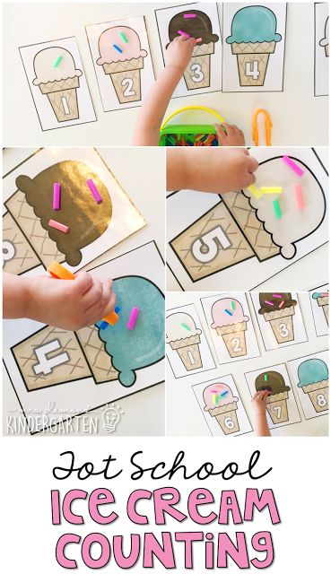 This ice cream counting activity is a great way to practice number identification, counting and fine motor skills at the same time. Perfect for an ice cream theme in tot school, preschool, or the kindergarten classroom.