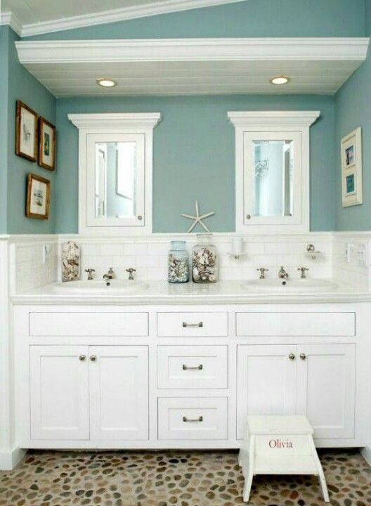 aqua and white bathroom with seaside cottage feel and river rock floor really cool