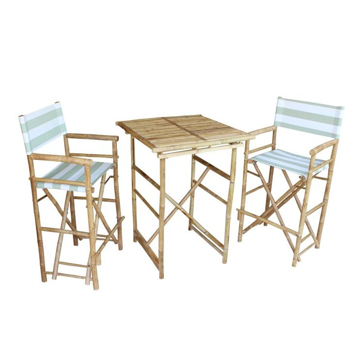 Zew Hand Crafted 3 Piece Square Folding Bamboo Bar Height Patio Dining Set  Celadon Stripe