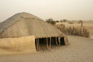 The tent of a nomadic family in Qatar