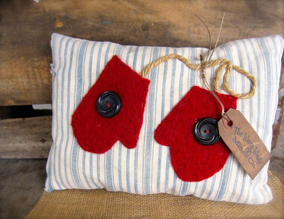 Primitive Pillow Mittens Winter Blue and White by SweetLibertyBarn, $12.00