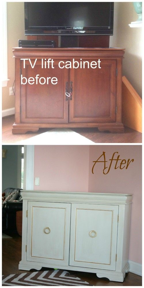 Before and After of a standard TV cabinet {design by Fieldstone Hill Design}