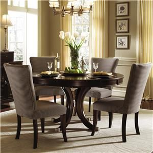 Alston Round Dining Table & Four Upholstered Side Chairs by Kincaid Furniture at Becker Furniture World