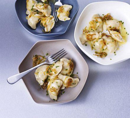 Pierogi with potato, cheese & bacon filling