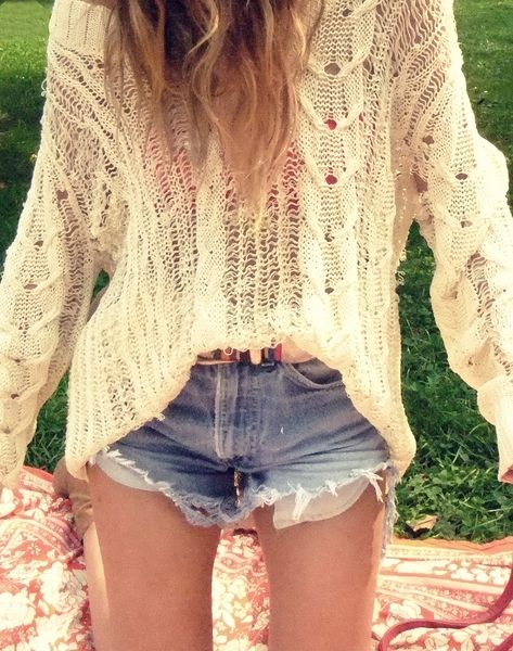 Love love love!: Summer Outfit, Shorts Shorts, Over Sweaters, Crochet Sweaters, Denim Shorts, Jeans Shorts, Cut Outs, Knits Sweaters, High Waist Shorts