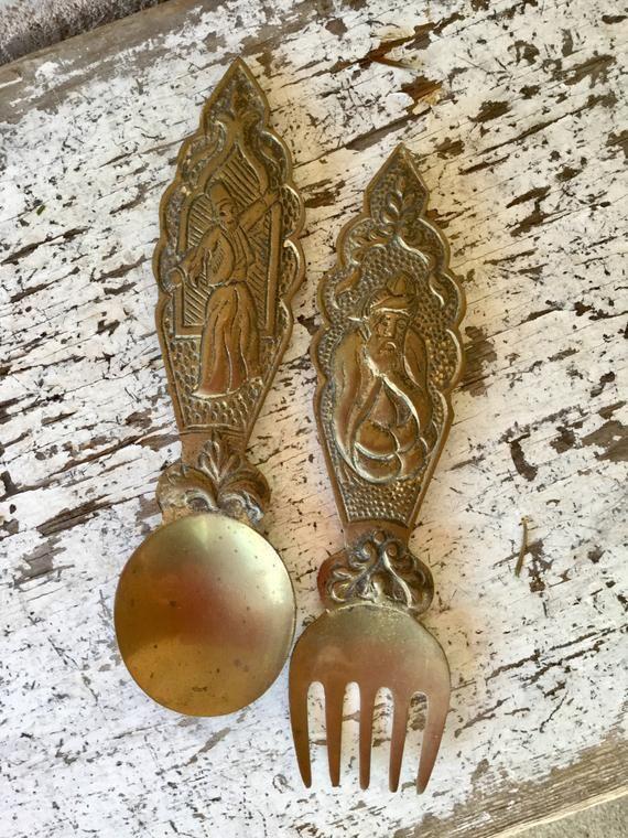 Solid Brass, Wall Decor, Fork and Spoon, Islamic Art, Istanbul, Turkey