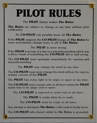Fallon Aviation - Pilot Rules, $24.95 (http://www.fallonaviation.com/pilot-gifts/aviation-signs/pilot-rules/)