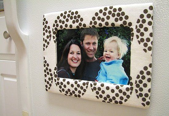 DIY cardboard and fabric photo frames