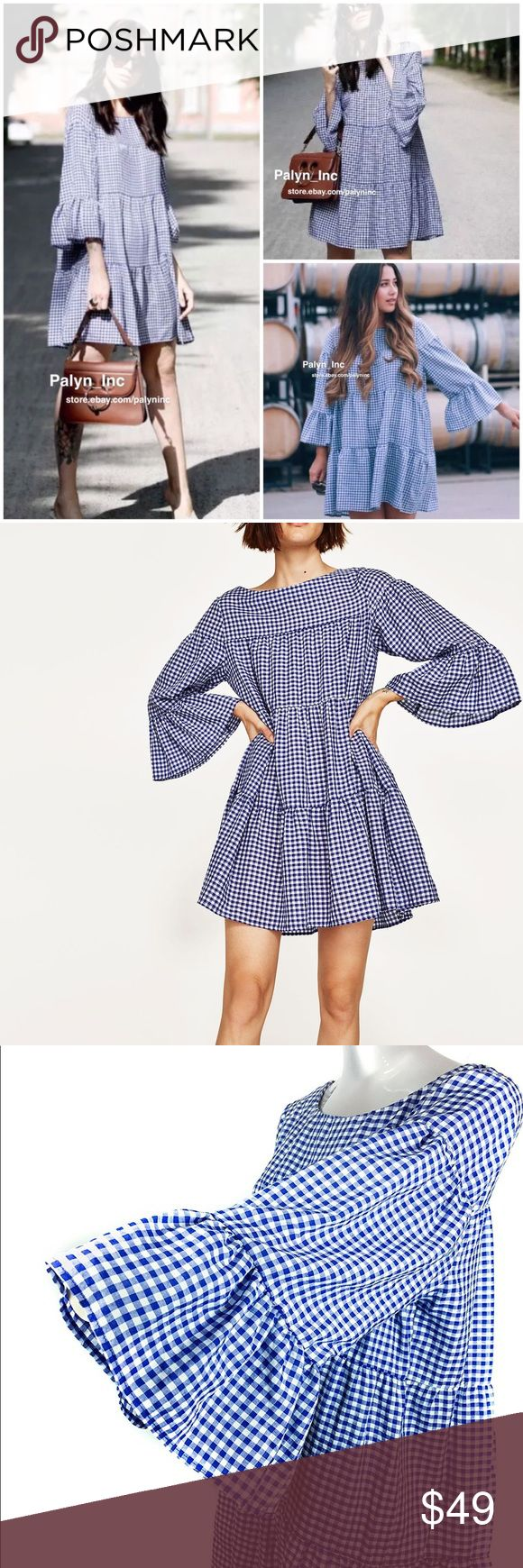 Zara NWOT gingham print mini dress tunic bloggers New without tags beautiful and famous dress mini in trendy gingham print. I have the blue one for sale size M Zara Dresses Mini