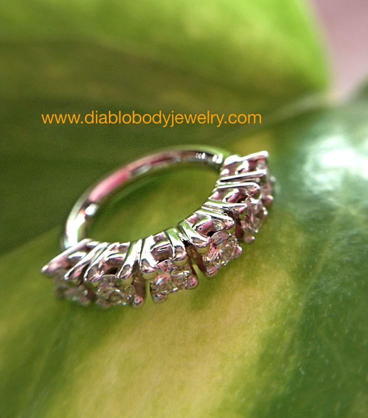BVLA Custom White Gold Prong-Set Genuine Diamond Clicker great for Navel Piercings!