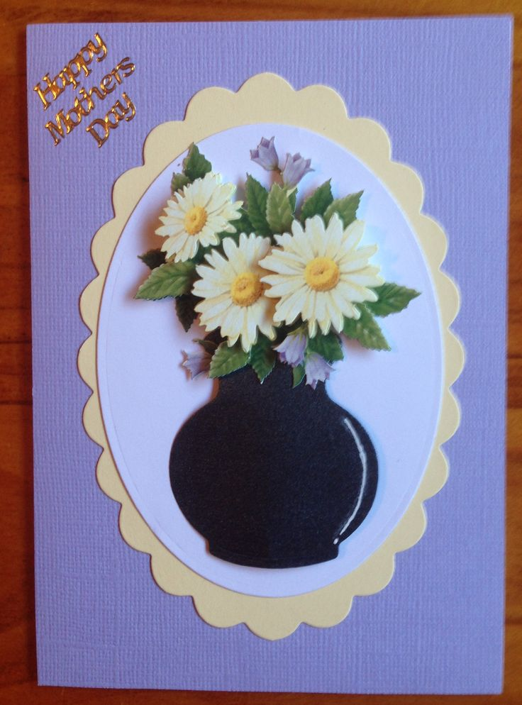 Handmade Mother's Day card using 3D sheet, vase die cut, oval die cuts and peel off sticker.
