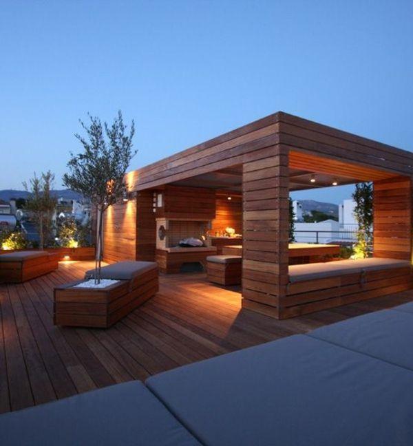 Moderne Terrassengestaltung – 100 Bilder und kreative Einfälle - terrasse gestalten pergola holzmöbel tisch bank dekoration