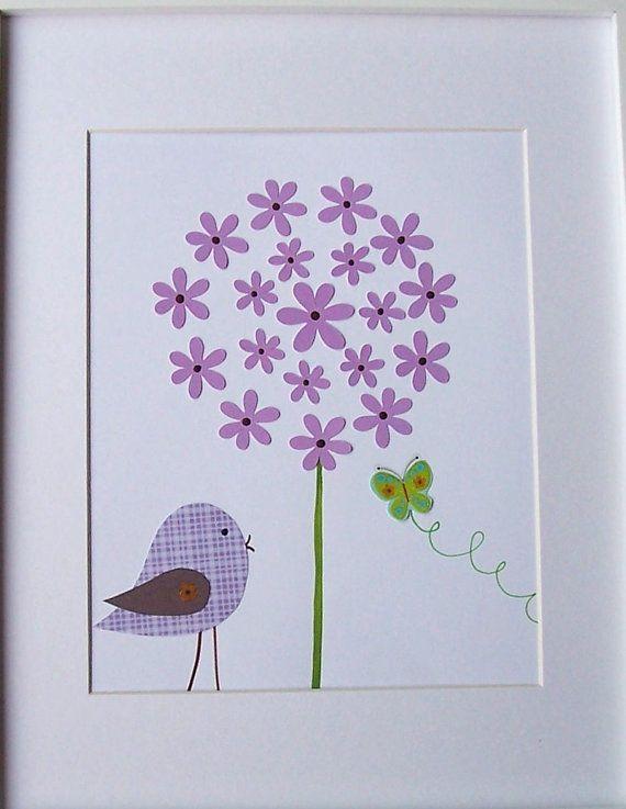 Kids Wall Art, Children's Art Decor, Baby Girl Room Decor, Nursery Art, Butterfly, Purple Bird and the Butterfly, 8x10 Print