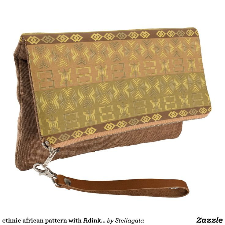 ethnic african pattern with Adinkra simbols Clutch #bags #bag #design #ethnic #gold