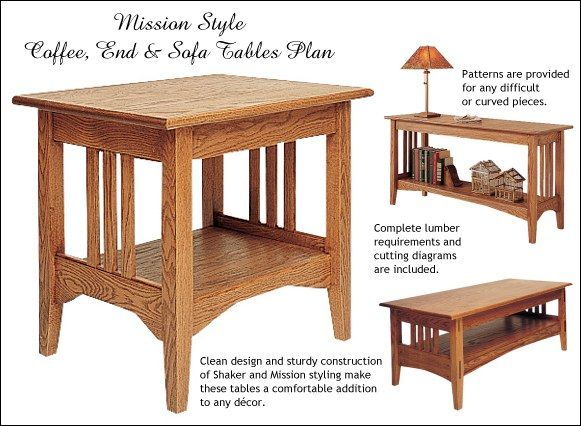 table Patterns | Mission Style Coffee, End and Sofa Table Plans