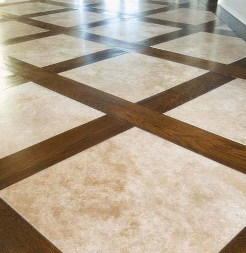 Tile with inlaid wood...cute!