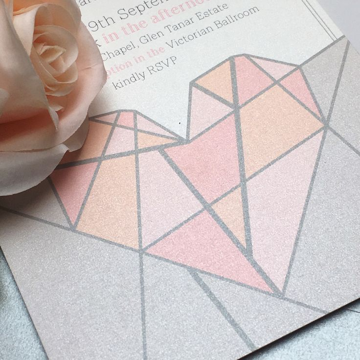 Geometric heart pastel print wedding invitation by Paperoo