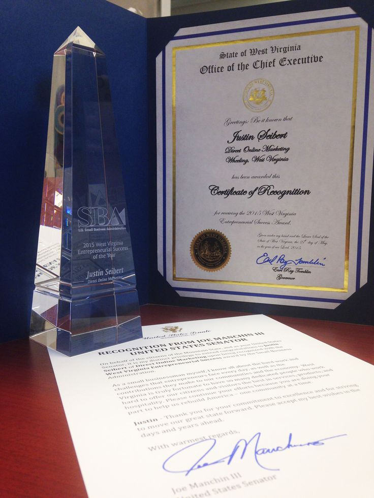 A major award! Congratulations to our President, Justin Seibert, on winning the SBA's 2015 WV Entrepreneurial Success of the Year. :)