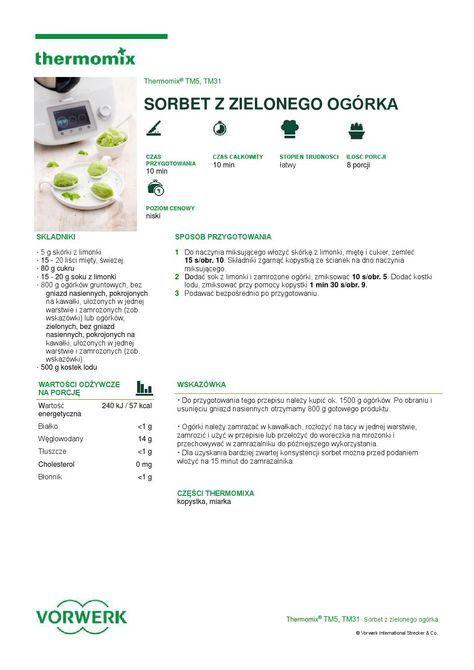 thermomix - Sorbet z zielonego ogorka