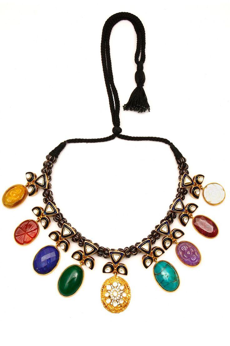 Rohita and Deepa Gold finish 'Navratan' necklace