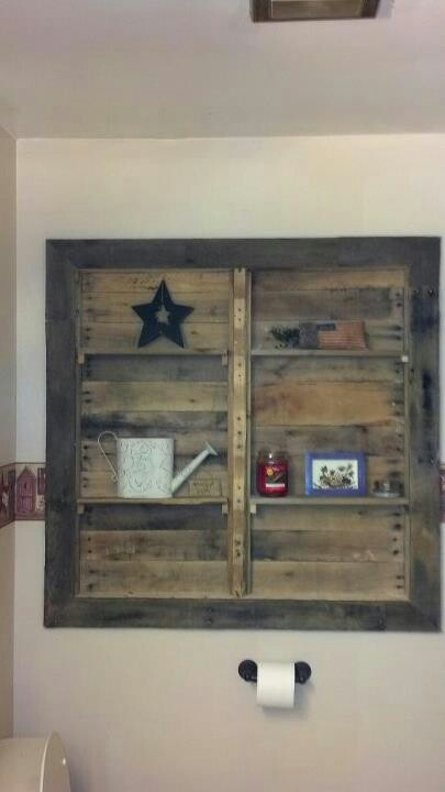Bathroom shelves made of pallet wood home for Pallet bathroom ideas