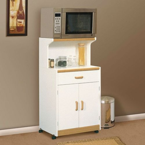 White Microwave Cart, Natural Wood Accents, Sturdy Dual Wheel Casters
