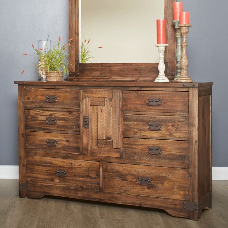 -Rustic Styling -English Dovetail Fronts -Eclectic, southwestern feel -Box Joint Backs -Full Extension Drawer Glides -Fixed Shelf in Dresser -Made of solid pine -Warm distressed pine finish