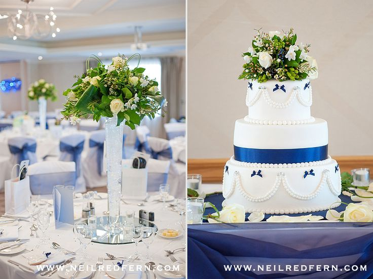 Royal Blue and White Wedding Cake with pearl and bow detailing at Cottons Hotel & Spa in Knutsford, Cheshire