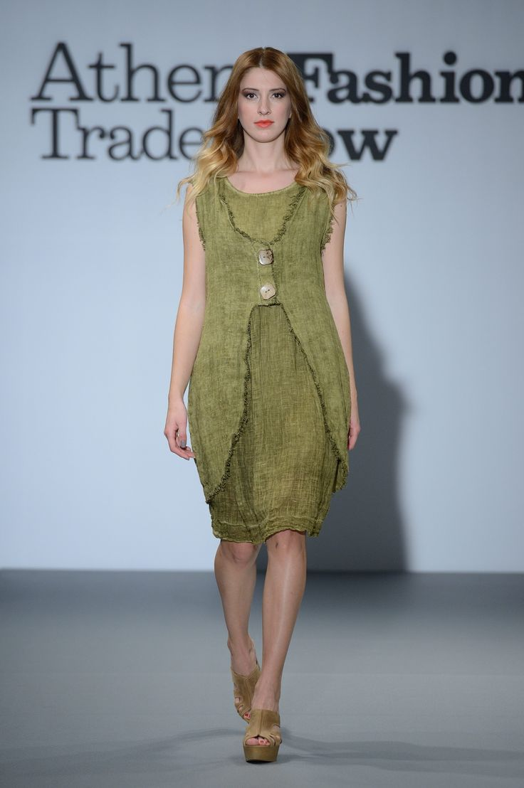 Amazing olive green linen dress with linen sleeveless jacket!!  100% Natural fabrics