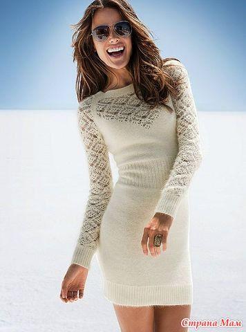 Платье спицами с ажурными вставками