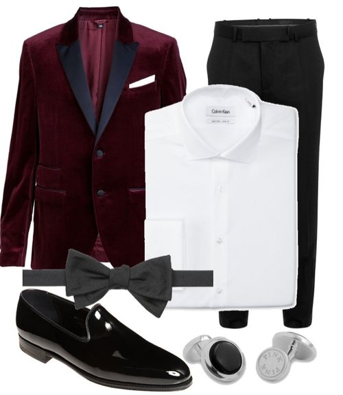Velvet smoking jacket, bow tie. Perfect for a black tie event this Holidays! www.designerclothingfans.com