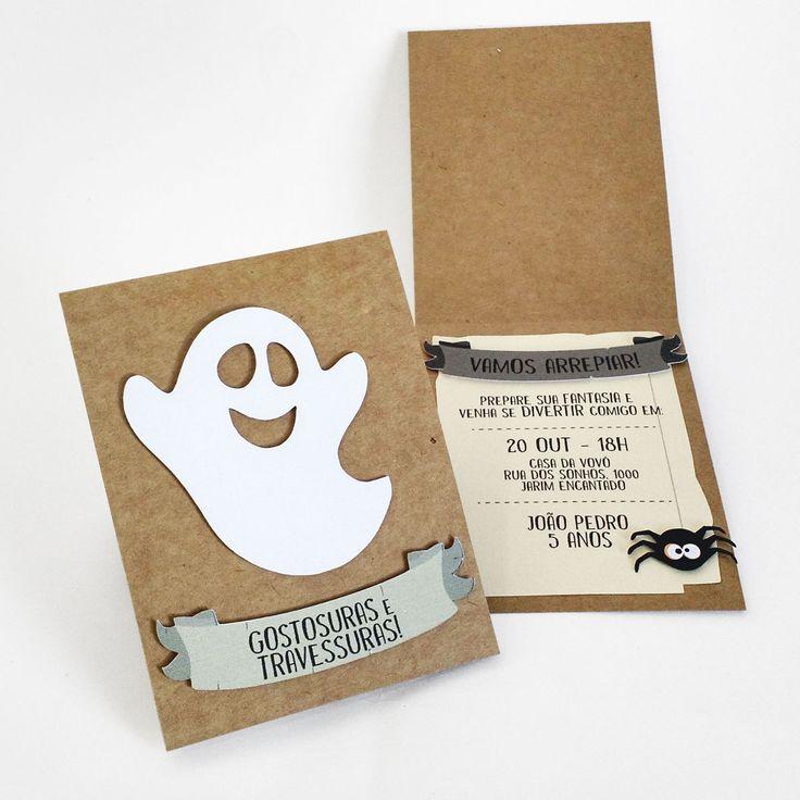 Convite Dia das Bruxas - Fantasma #halloween #convite #bruxas #aranha