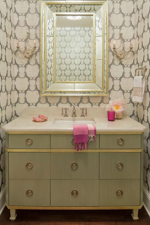 Clad in Thibaut Cheetah Wallpaper, this elegant gold and