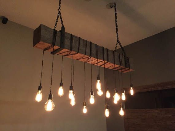 rustic interior lighting. Reclaimed Barn Beam Light Fixture With Hanging Brackets And Wrapped LED Edison Bulbs RusticModernIndustrial Rustic Interior Lighting