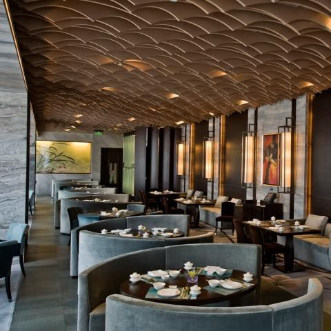 Elegantly designed ceiling system by Hirsch Bedner Associates - Westin Ningbo - STARWOOD #moderninteriordesign